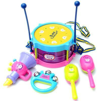 5PC Kids 3 Years Old  Baby Roll Drum Musical Instruments Kit Music Toy Gifts US