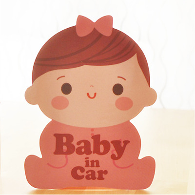 *US SELLER* Baby on Board in Car Safety Sticker Decal Reflective Girl Bow Pink