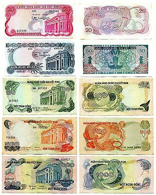 1970 Vietnam South banknote 20 50 100 500 1000 dong , no pinhole all note