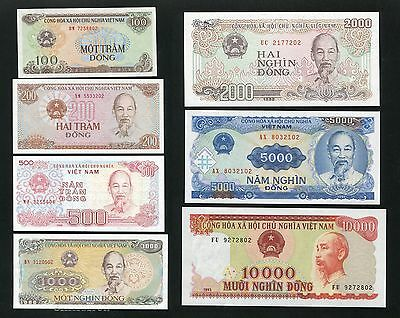 1987 - 1993 Vietnam banknote 100 - 10000 dong Set of 7 all UNC note