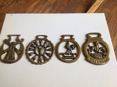 Lot of 4 vintage horse brass 50 years old from England