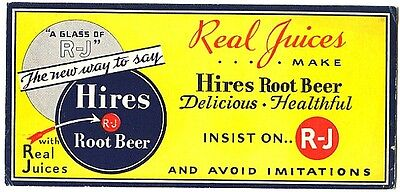 Vintage Hires Root Beer Small Cardboard Advertising Soda Sign 1940s Real Juices