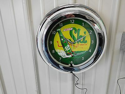 Ski Soda Sign Clock Neon
