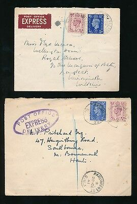 GB POST OFFICE EXPRESS DELIVERY KG6 1940 + 1941 LABEL + HANDSTAMP 8 1/2d RATE