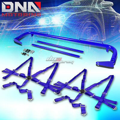 """Blue 49""""stainless Steel Chassis Harness Rod+Blue 6-Pt Strap Camlock Seat Belt"""