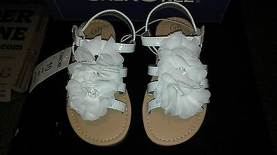 NEW WITH TAGS $16.99 Girls White Sandals Flowers size 10 Cherokee