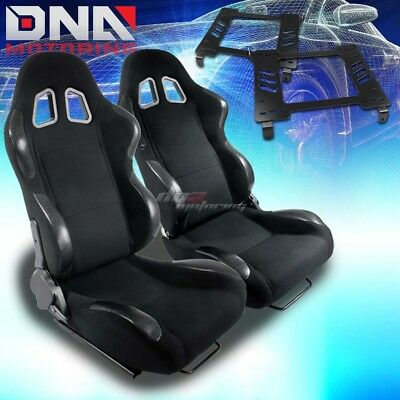 For 94-05 Dodge Neon Sx Bracket+Type-4 Black Cloth Racing Seat Reclinable X2