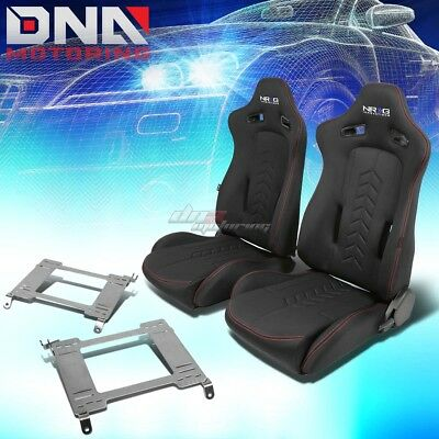 Nrg Black Reclinable Racing Seats+Full Stainless Bracket For 98-02 Accord Cg