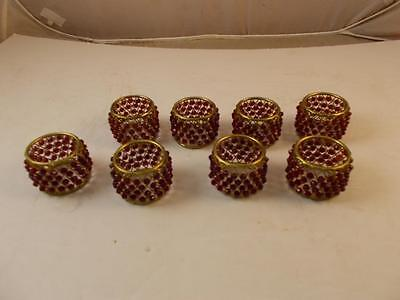 Gold Metal With Ruby Red Beads Napkin Ring Set Of Eight
