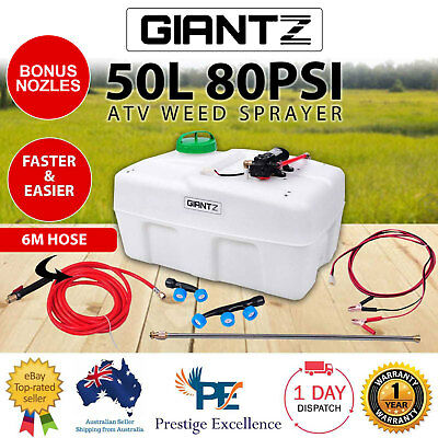 New 12V ATV Garden Weed Sprayer Pump Unit 50L provides 80PSI Solid Chemical Tank