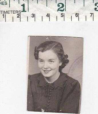 Vintage Photo snapshot beautiful young lady woman girl pretty smile #63