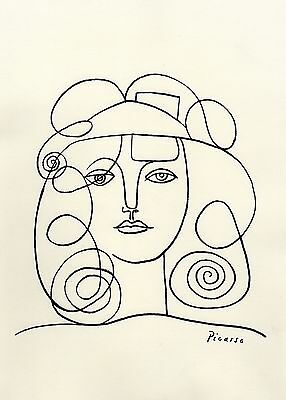 """Pablo Picasso Drawing  """"Portrait of Woman"""" Registered"""