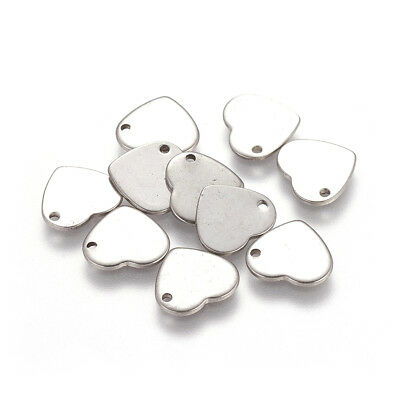 10pcs 304 Stainless Steel Heart Tag Pendants Smooth Stamping Blanks Charms 11mm