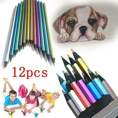 12 Colors Metallic Shine Non-toxic Colored Drawing Sketching Sketch Pencil FW