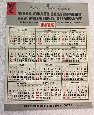 Vintage 1938 Wall Calendar -West Coast Stationery and Printing Company