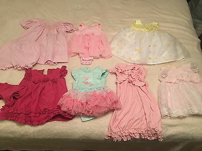 Lot of 7 Newborn 0-3 Month ~SUMMER DRESSES~ Baby Girl Infant Outfits Chaps Pink