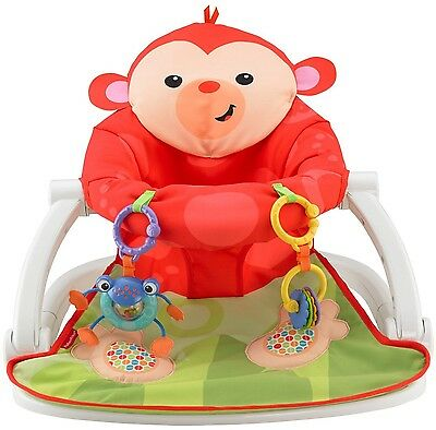 Fisher-Price Deluxe Sit-Me-Up Floor Seat Monkey New