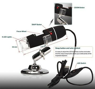 2MP 1000X 8LED USB Digital Microscope Endoscope Zoom Camera Magnifier With Stand