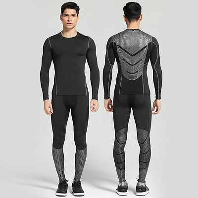 Men Compression Armour Base Layer Tights Long Pants Sports Long T-Shirts V164-2