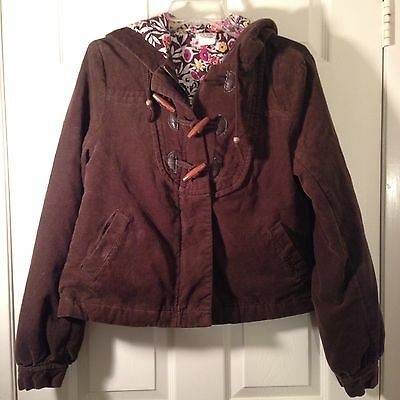 Women's O'Neill Corduroy Jacket Fully Lined Hooded Brown Size Large