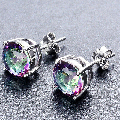 925 Sterling Silver Round Cut Mystic Rainbow Fire Topaz Stud Earrings Jewelry