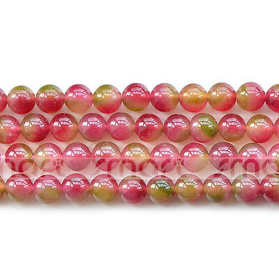 Natural Watermelon Chalcedony Round Gemstone Bead 15.5'' Strand 6mm 8mm 10m 12mm