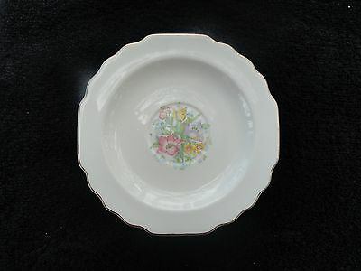 W S George Multicolor Floral Center Gold Trim Scalloped White Saucer