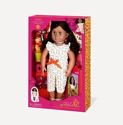 """Our Generation Nahla 18"""" Doll with Book & Garden Play Set  Accessories NEW"""