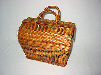 Antique Wicker Sewing Basket Box 2 Handles Purse Pet Carry Dolls