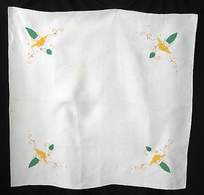 Applique Yellow Floral Bridge Luncheon Tablecloth Vintage Cotton Linen 35 by 33