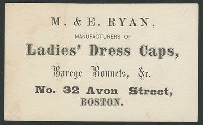 1870s Boston Ladies Caps, Hats & Bonnets Dealer Business Card