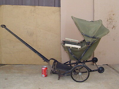 Vintage BABY STROLLER folding Canvas Carriage Buggy Wagon Pull Handle fold RARE
