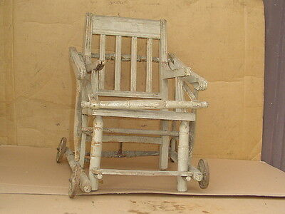 Vintage Wood BABY high CHAIR stroller wheels Cane seat RARE needs restoration