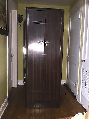 Vintage Industrial Art Deco Bloc-Bilt Wardrobe Locker Steel Cabinet Coat Closet