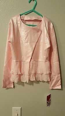 Capezio Big Girls Overlapping Pleated Jacket Ballet Coral Size Medium NWT