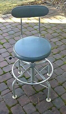 Vintage Metal Chrome Stool Industrial Adjustable Drafting Chair Steampunk