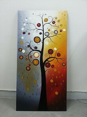 Framed Original Hand Paint Abstract Oil Painting Home Art Decor Tree Landscape