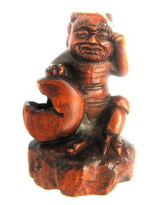 "Y4569-Collectible -15 Years OLD 2"" Hand Carved Boxwood Netsuke -Oni Monster Man"