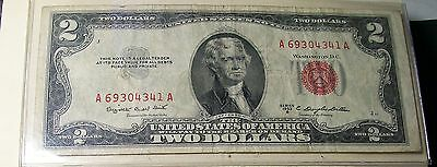 1953 B Red Seal Label United States Note $2.00 Bill