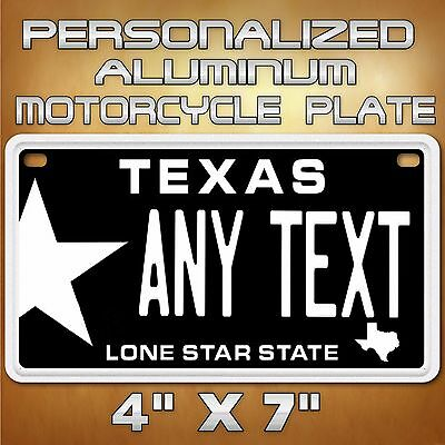 Texas Star Any Text Custom Personalized State Motorcycle License Plate Tag
