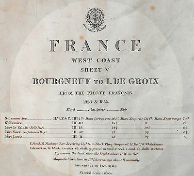 1858 Antique Nautical Sea Sailing Chart Bourgneuf De Groix Loire France