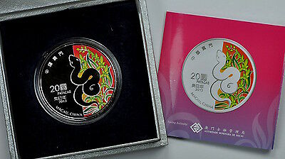 2013 1 oz Silver Macau Colorized Year of the Snake Colored Coin Bullion