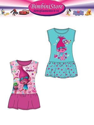 vestito originale trolls poppy 4 6 8 10 12 anni abito con gonna francy