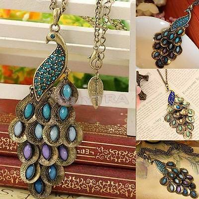Fashion Vintage Bronze Style Peacock Blue/Green Crystal Chain Pendant NecklaceLW