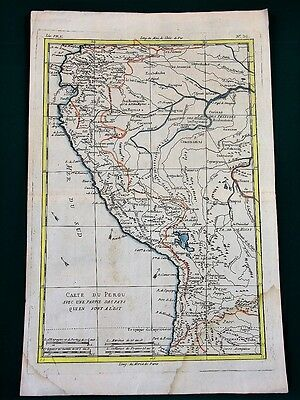 PERU w Amazon River Headwaters antique French map ca. 1800