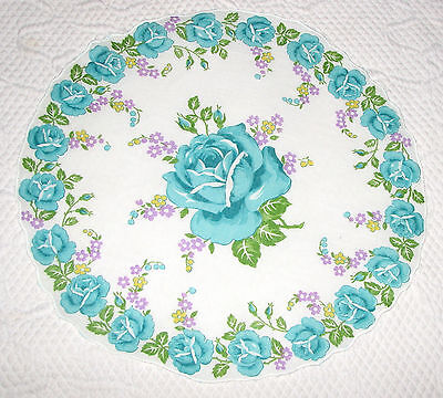 "Turquoise Roses on White 13"" Round Cotton Vintage Hanky Handkerchief"