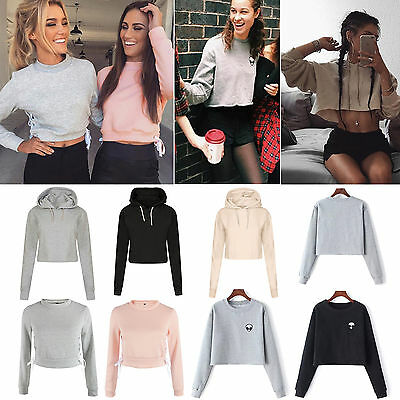 Women Hoodies Jumper Sweatshirt Sweater Casual Crop Top Coat Sports Pullover NEW