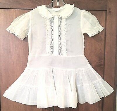 Vintage Girls Ivory Sheer Dress, With Lace Trim & Ruffled Skirt, Size 6