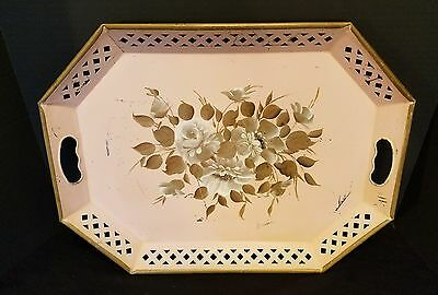 Large Vintage Signed Hand Painted White Roses Floral light pink Buffet Tole Tray