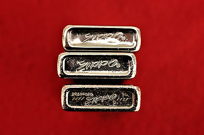 Vintage Lot Of Three Chrome Slim Zippo Lighters Dated ~ 1968 ~ 1973 ~ 1974
